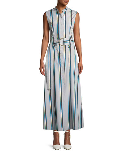 Striped Sleeveless Belted Maxi Dress
