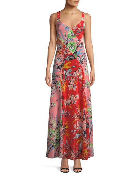 Paneled Floral-Print Silk Crepe De Chine Maxi Dress, Orange Pattern