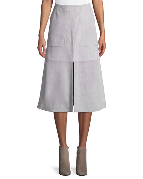SUEDE PATCH POCKET MIDI SKIRT