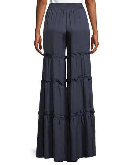 Avery Ruffle Trim Wide-Leg Pants