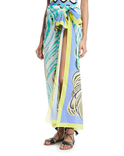 Baia-Printed Cotton Pareo Coverup