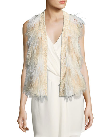 Kate Open-Front Feather Vest