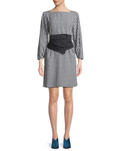 Gingham Long-Sleeve Shift Dress with Removable Corset