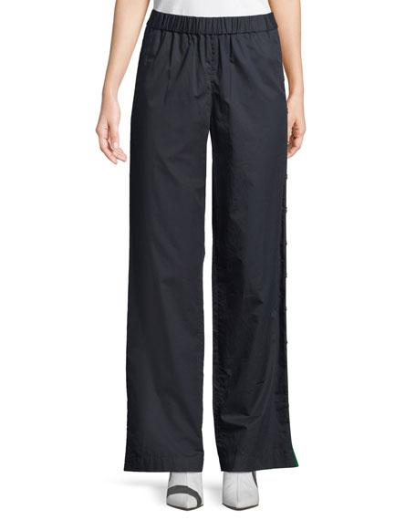 Poplin Side-Snap Wide-Leg Pants