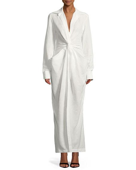 66475adc0 Jacquemus La Robe Bolso Long-Sleeve Twist-Front Long Linen-Cotton Dress