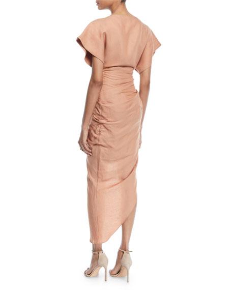 4509b578e92c2 Jacquemus La Robe Salvador Boat-Neck Gathered High-Low Linen-Blend Dress