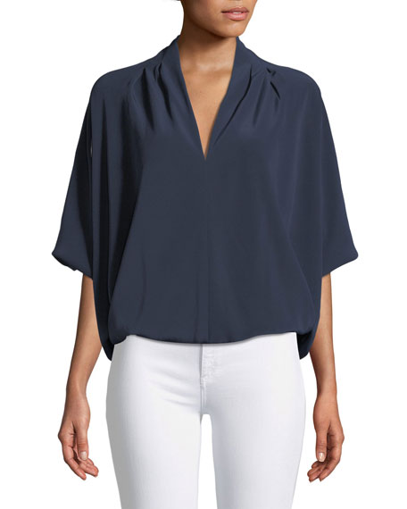 Robi Short-Sleeve Cocoon Blouse