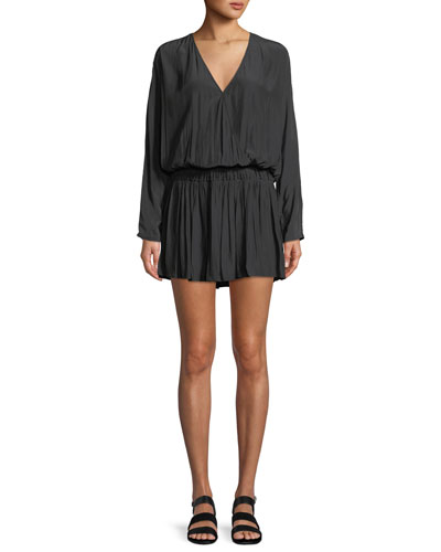 Mabel Ruched Long-Sleeve Mini Dress