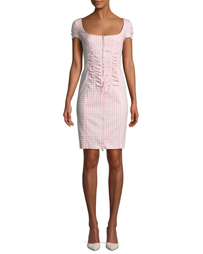 Check Me Out Scoop-Neck Gingham Mini Dress