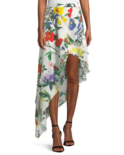 Joeanne Floral-Print Tiered Asymmetric Skirt