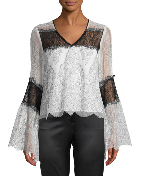 Chanteuse Sheer Lace Bell-Sleeve Top