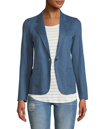 Stretch Linen Open-Front Blazer, Blue