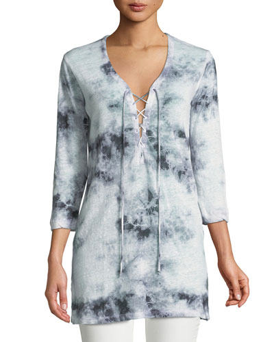Linen Tie-Dye Lace-Up Tunic
