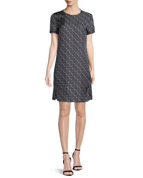 Triangle Stripe Silk Twill Tee Dress