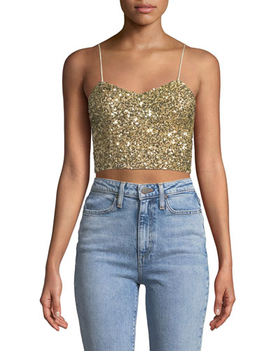Archer Embellished Cropped Cami Top