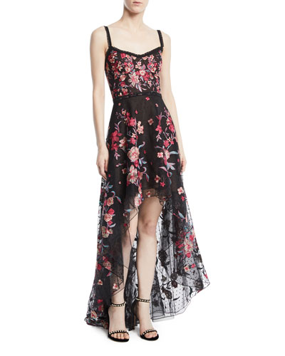 Embroidered High-Low Flocked Tulle Gown