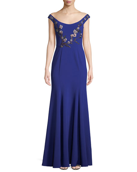 Marchesa Notte Gowns STRETCH CREPE OFF-THE-SHOULDER GOWN