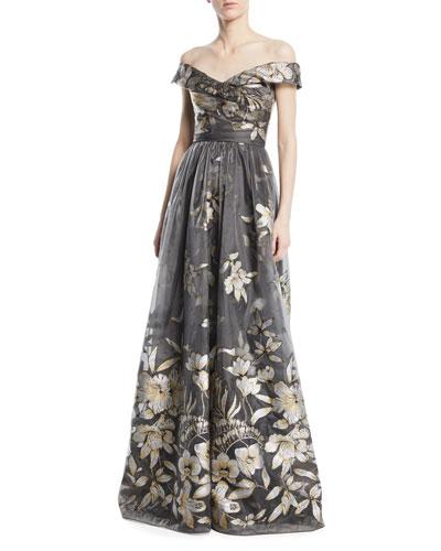Metallic Fil Coupé Off-the-Shoulder Gown