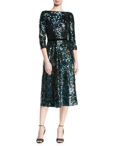 Sequin Tea-Length Cocktail Dress w/ Velvet Trim