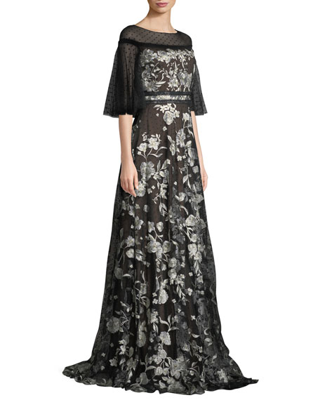 Flutter-Sleeve Floral Embroidered Flocked Tulle Gown