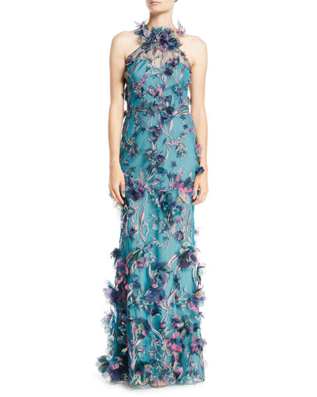 38c2cda5687 Marchesa Notte 3D Floral Halter Gown with Embroidery