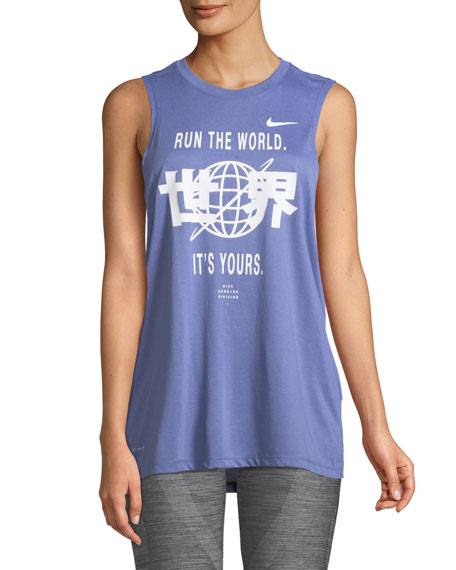 Run The World Dri-Fit Graphic Muscle Tank Top in Purple/White