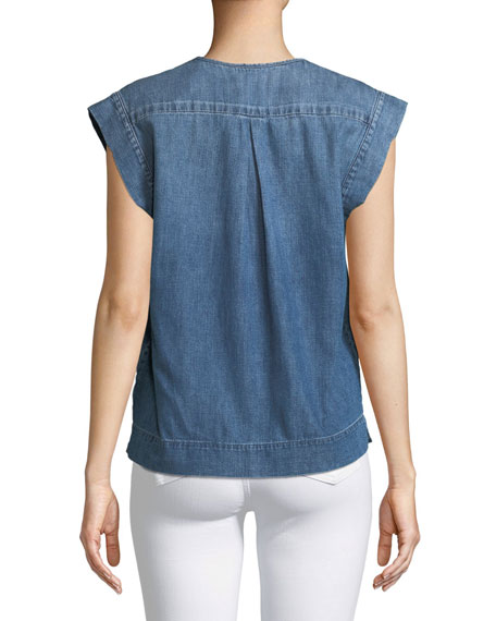 Trista V-Neck Sleeveless Denim Top