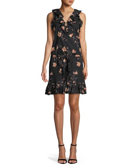 Farfalla V-Neck Sleeveless Floral-Print Cotton Dress