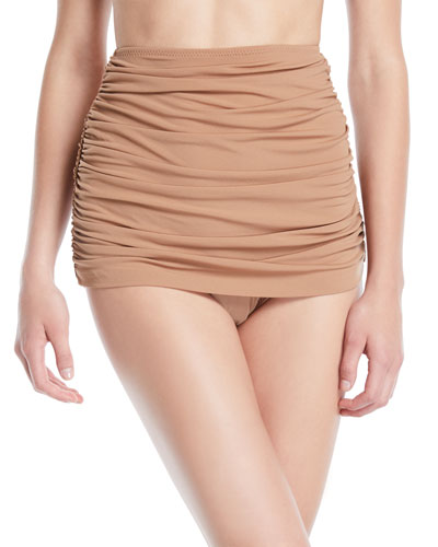 Bill Shirred High-Waist Skirted Bikini Swim Bottoms