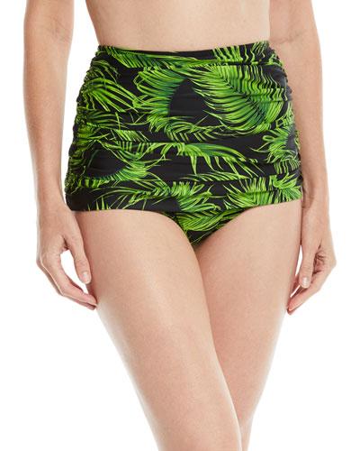 Bill High-Waist Shirred Palm-Print Bikini Bottom