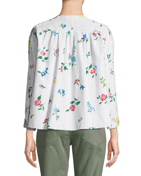 The Boutonniere Floral-Embroidered Cotton Top