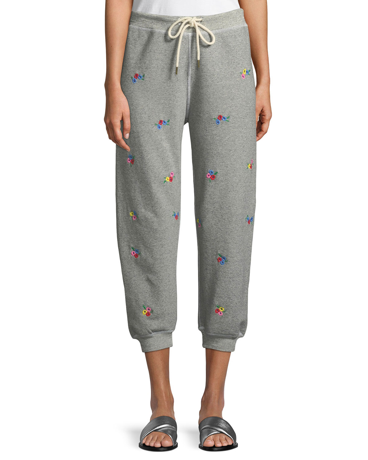 outlet boutique exceptional range of styles latest The Cropped Floral-Embroidered Sweatpants