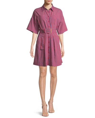Short-Sleeve Button-Up Belted Shirt Dress