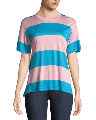 Tie-Back Striped Jersey Tee