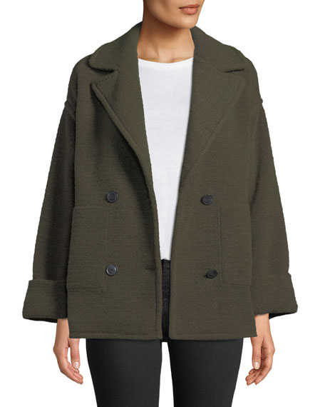 Horizontal Boucle Double Knit Double-Breasted Boucle Pea Coat in Green