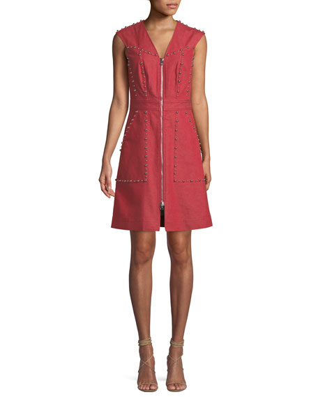 Zip-Front Studded Sheath Dress