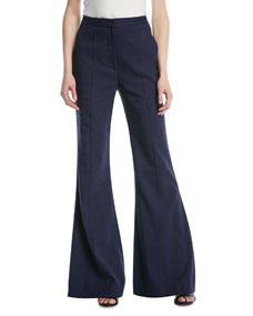 High Rise Pleated Front Flared Pants by Diane Von Furstenberg