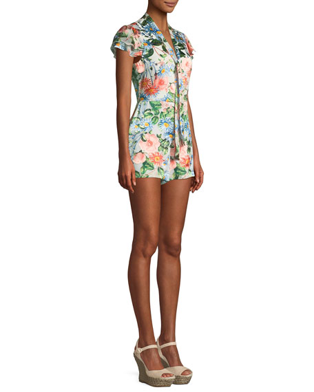 7e6dffd82e1 Alice + Olivia Macall Short-Sleeve Floral-Print Romper