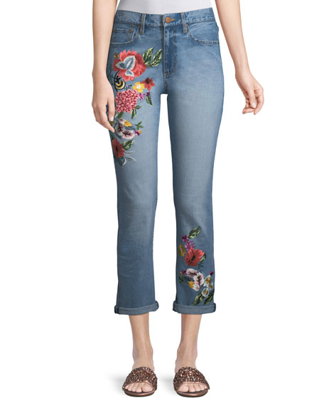ALICE + OLIVIA JEANS Amazing Floral-Embroidered High-Rise