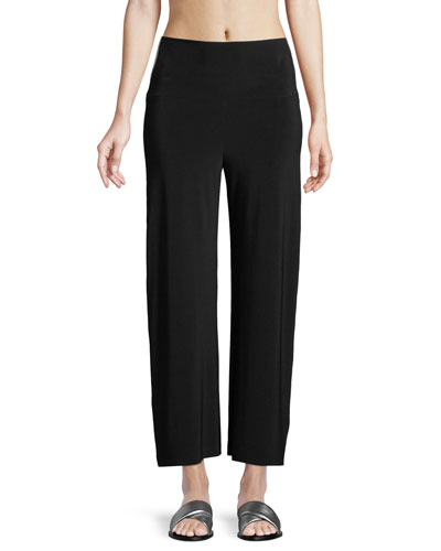 Cropped Side-Stripe Straight-Leg Pants