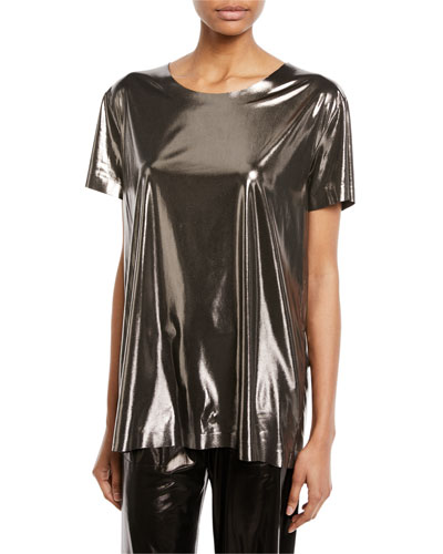 Metallic Short-Sleeve Crewneck Tee
