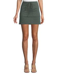 Drawstring Stitched Pocket Twill Mini Skirt by Theory