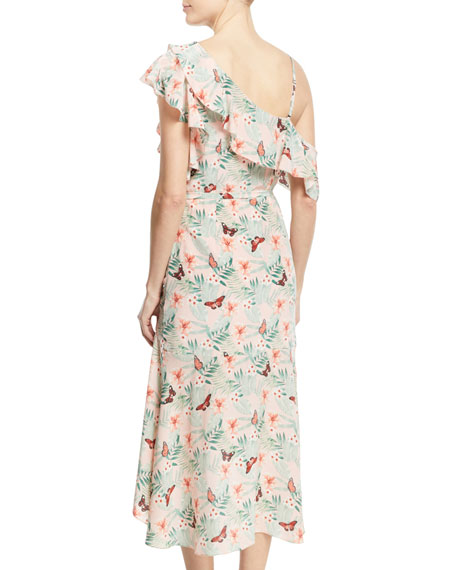 Jamima Printed One-Shoulder Midi Dress