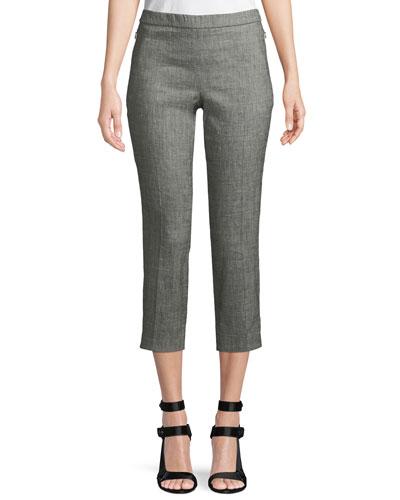 Basic Sharkskin Pull-On Cropped Pants