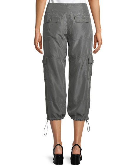 Cropped Silk Drawstring Cargo Pants