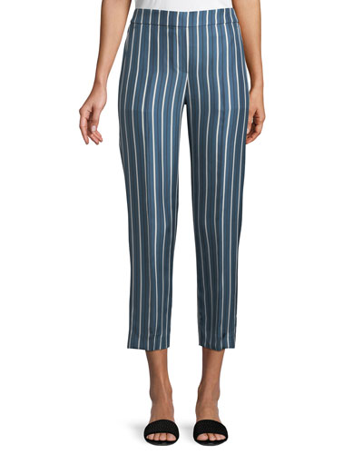 Darby Striped Silk Pull-On Pants