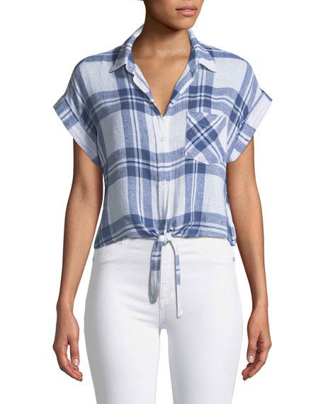 Rails Amelie Plaid Linen Button-Down Top