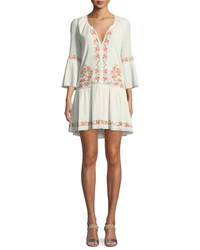 Jarette Embroidered 3/4-Sleeve Mini Dress