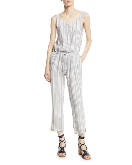 Brooklyn Striped Button-Front Drawstring Jumpsuit