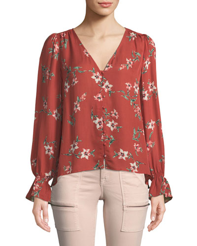 Bolona Long-Sleeve Floral Silk Button-Front Top